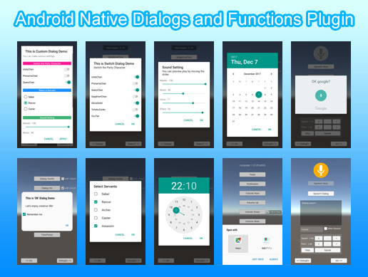 Android Native Dialogs and Functions Plugin - Asset Store