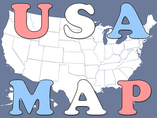 USA Map - U.S.A. 50 States and D.C.
