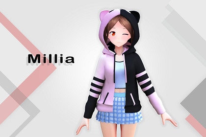 Millia 3D: Anime Style Character (For VRChat/Game-Ready)