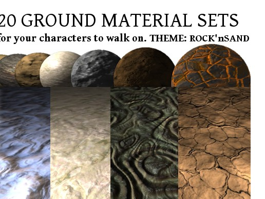 20 Ground Material Sets: Rocks and Sand