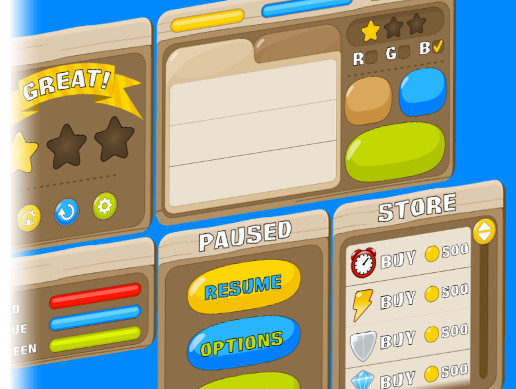 Cartoonish Wooden GUI