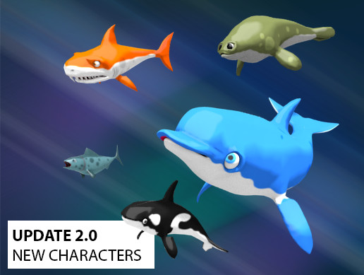Shark, dolphin and other sea animals