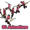 Mecanim HeroMale 90 Animations