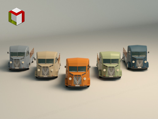 Low Poly Pickup Van 02