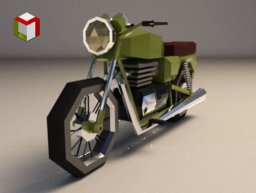 Low Poly Motorcycle 01