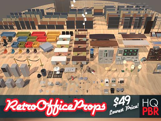 HQ PBR Retro Office Props Kit