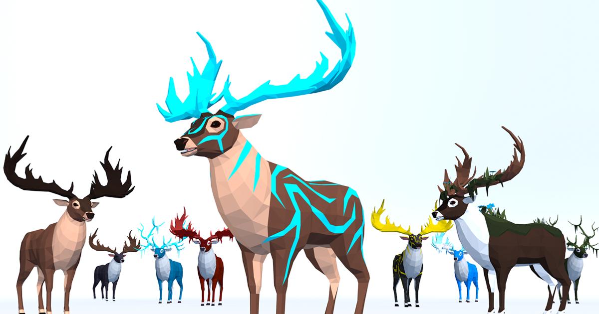 LowPoly Fantasy Deers pack