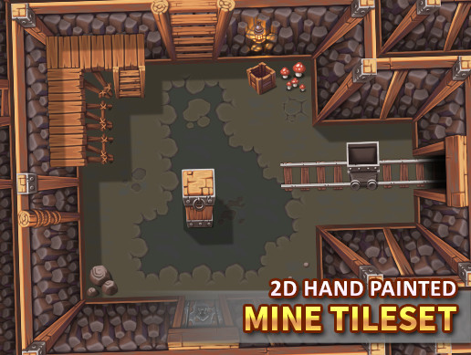 2D Hand Painted - Mine Tileset