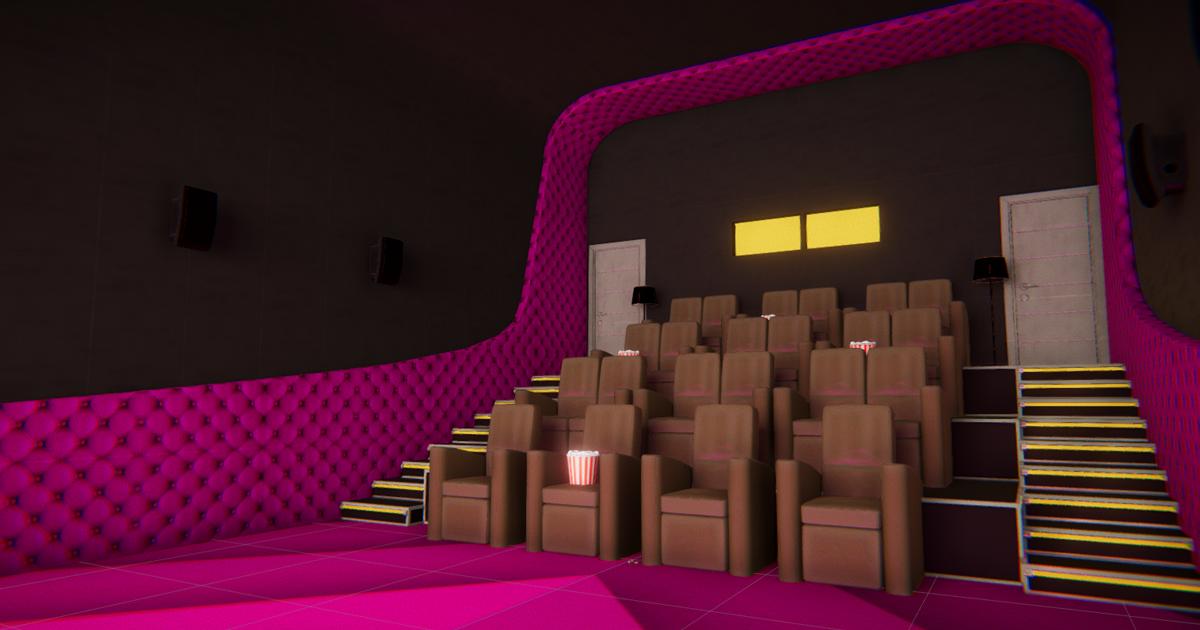 VIP cinema hall - interior and props