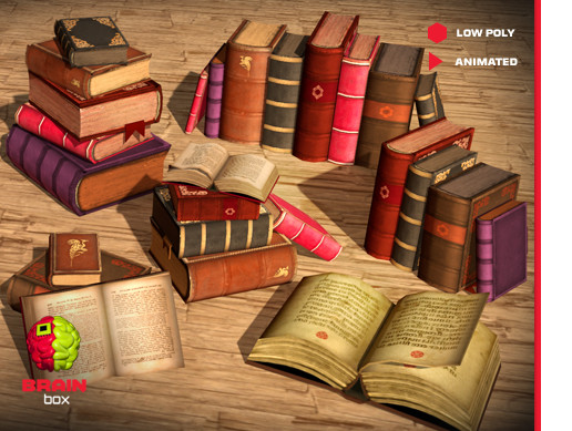 Antique Book Set / Animated / Low Poly