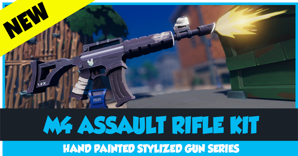 Stylized M4 Assault Rifle with Scope Complete Kit with Gunshot VFX and Sound - Hand Painted AR Machine Gun Automatic Rifle