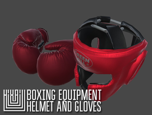 Boxing equipment - helmet and gloves