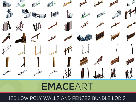 Low Poly Fences and Wall Bundle Pack 1-3 LODS