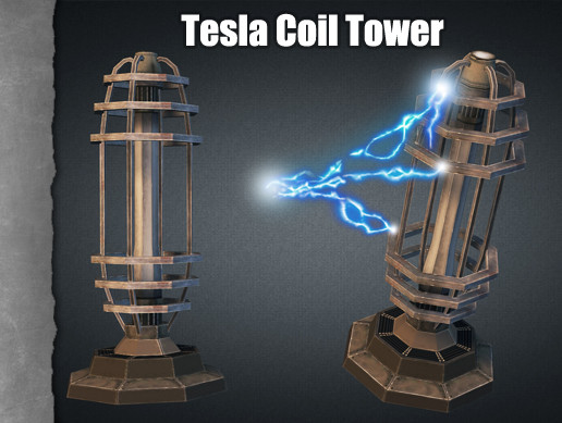 TD Tesla Coil Tower | 3D Weapons | Unity Asset Store