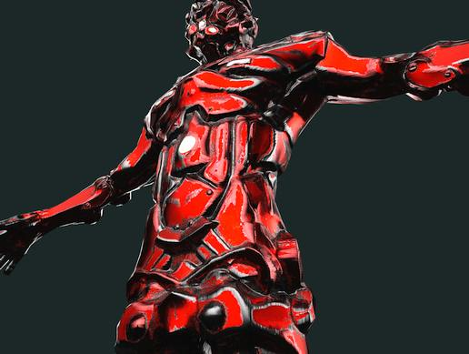Cyber Soldier Sci Fi Humanoid Red