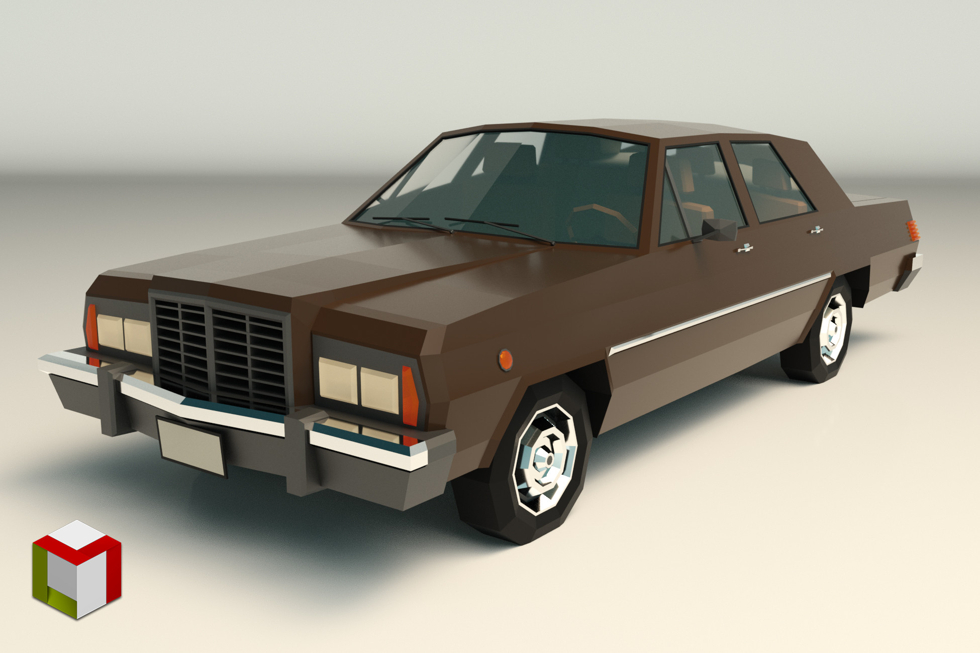 Low Poly Sedan Car 04