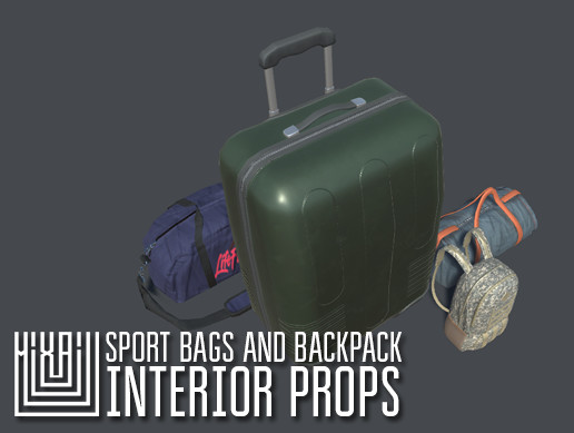 Sport bags and backpack - interior props