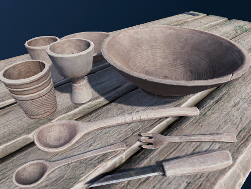 LowRes PBR Wooden tableware