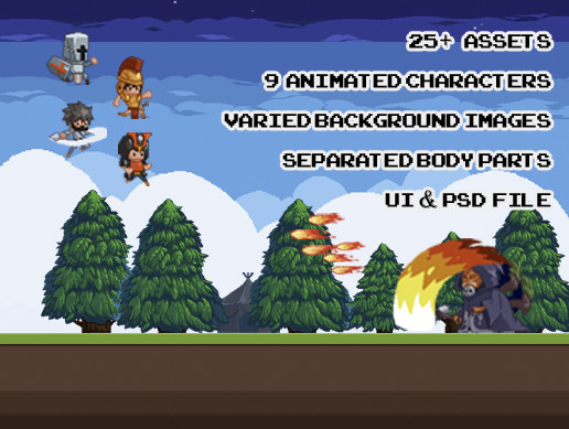 Animated Retro Pixel Style Package 2D