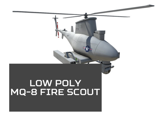 Low Poly MQ-8 Fire Scout UAV Drone