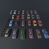 Pack Of wrecked rusted Low Poly 25 Sports Cars and 25 Rims PBR Textured
