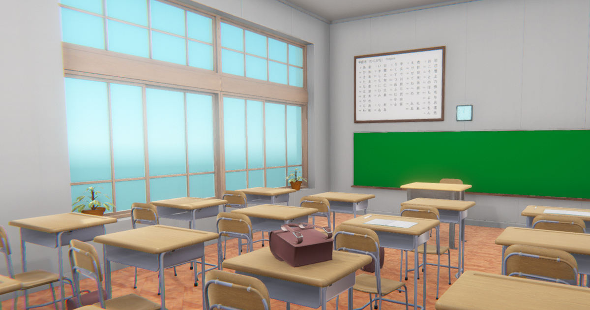 Japan classroom - interior and props
