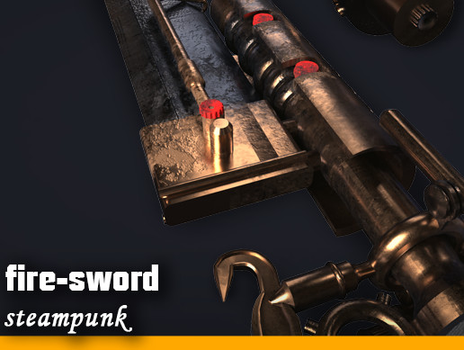 Steampunk fire-sword