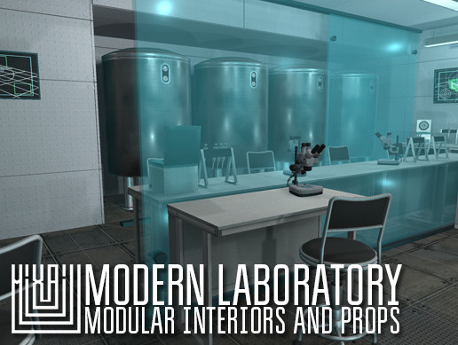 Modern laboratory - modular interiors and props