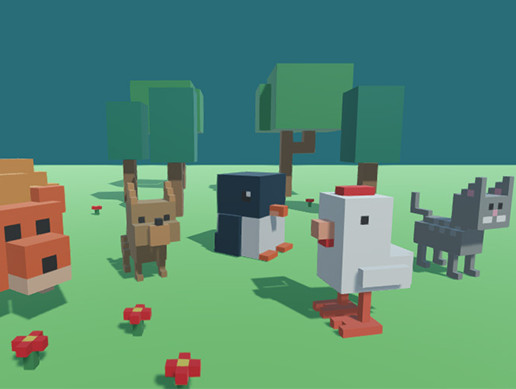 5 animated Voxel animals