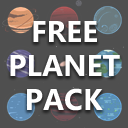 Planets with Space Background in Flat Style