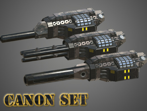 Sci-Fi Cannon set (Low Poly)