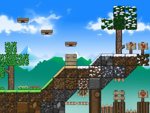 Too Cube Forest, the free 2D platformer game tile set