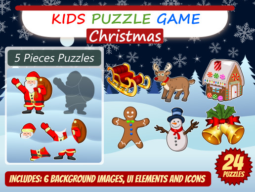 Kid Puzzle Game Asset Pack - Christmas