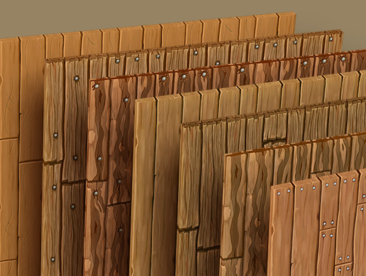 Hand Painted Wood Planks and Side Textures