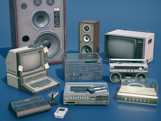Retro electronics from 1980s