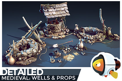 DETAILED - Medieval Wells & Props
