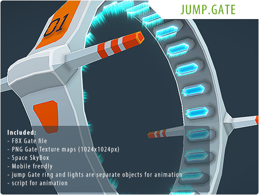 Sci-Fi Space Jump Gate - low-poly 3D Model