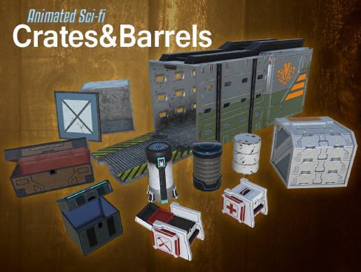 Animated Sci-fi Crates & Barrels