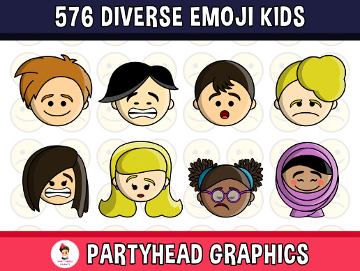 Diverse Kids Emoji Emotion Faces Pack