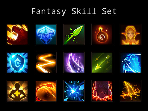 340+ Fantasy Skill Icon Set