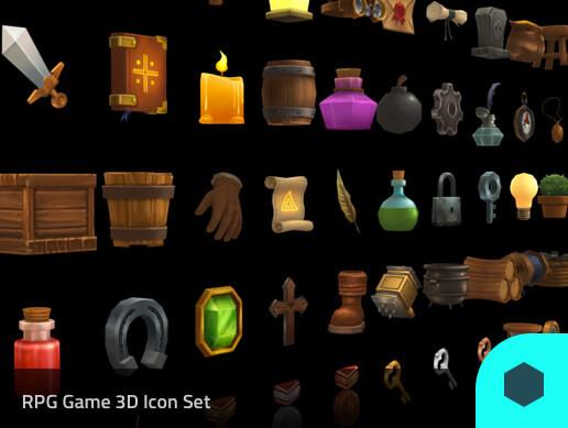 3D Models Prop RPG 50 Set Pack01