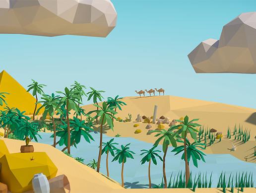 Low Poly Desert Scene Assets