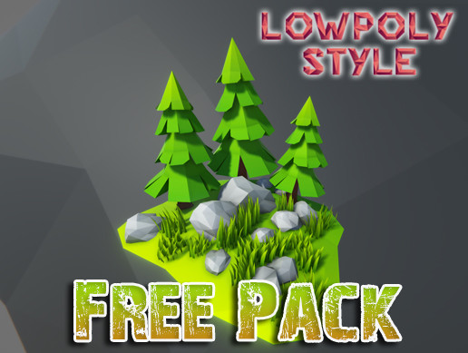Lowpoly Style Free Rocks and Plants