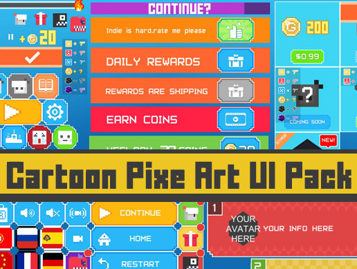 Cartoon Pixe Art UI Pack