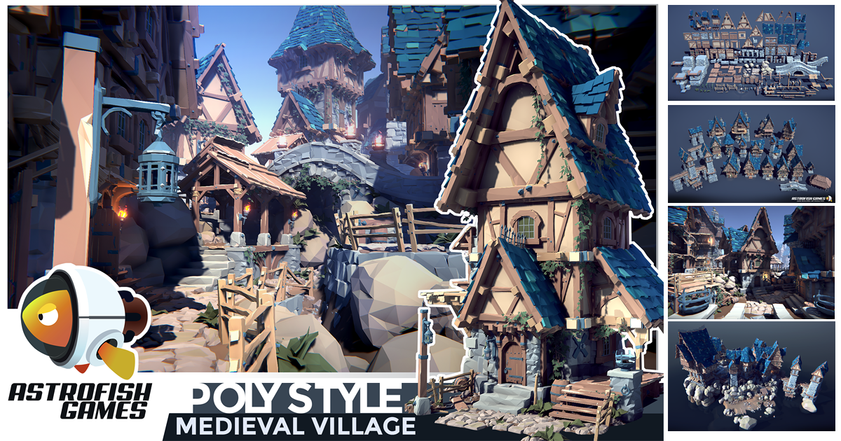 POLY STYLE - Medieval Village