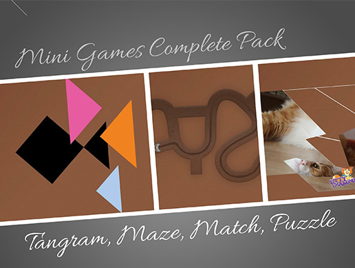 Mini Games (Tangram, Puzzle, Maze, Match) | Tutorial | Ready to use game package