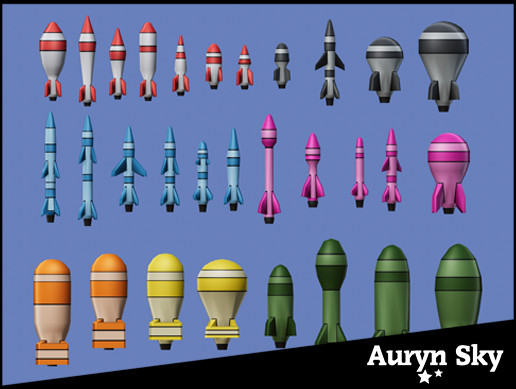 Cartoon Rockets, Missiles & Bombs - Low Poly Pack