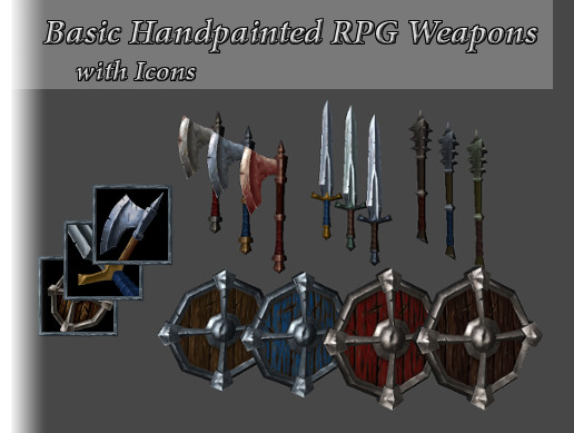 Hand Painted RPG Basic Weapon Pack with Icons