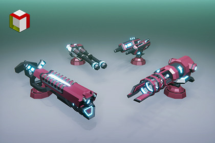 Low Poly Laser Gun Pack 01