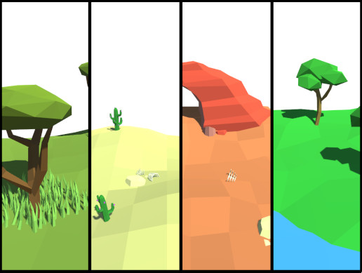 Lowpoly Natural Trees and Rocks